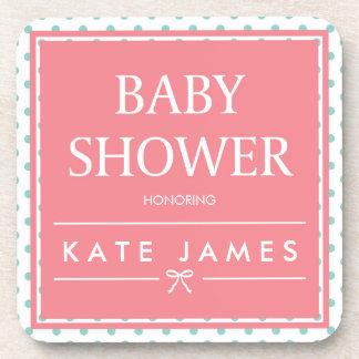 Pink Baby Shower Polka Dots and Ribbon Drink Coaster