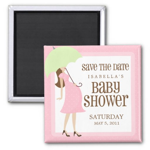 Pink Baby Shower Save The Date Fridge Magnet