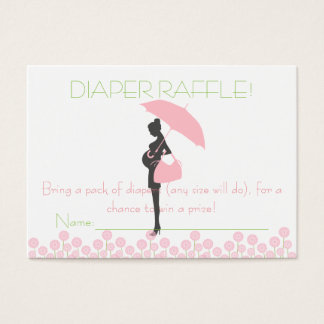 Pink Baby Shower Silhouette Diaper Raffle Tickets