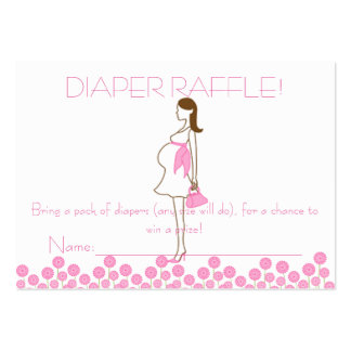 Pink Baby Shower Silhouette Diaper Raffle Tickets Large Business Cards (Pack Of 100)