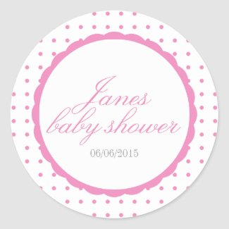 Pink baby shower stickers