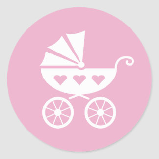 Pink baby shower stickers with cute carriage pram