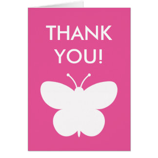 Pink baby shower thank you card with buttefly