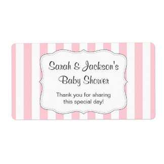 Pink baby shower thank you favor water bottle wrap shipping label