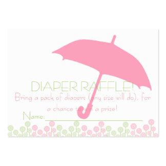 Pink Baby Shower Umbrella Diaper Raffle Tickets Large Business Cards (Pack Of 100)