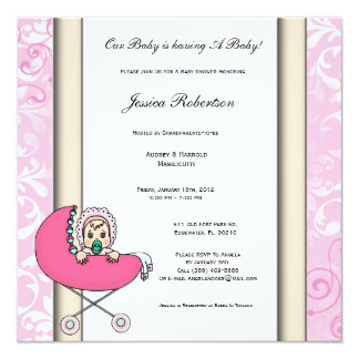 Pink Baby Shower With Pink Baby and Carriage Invit Card