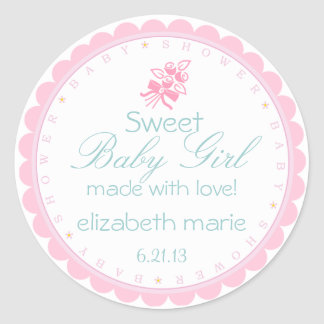 Pink Baby Shower with Scalloped Edge Classic Round Sticker