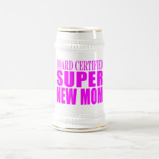 Pink Baby Showers Gifts : Super New Mom Beer Stein