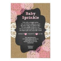 Pink baby sprinkle invite burlap chalkboard RUSTIC