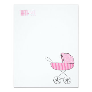 Pink Baby Stroller   Flat Thank You Note Cards