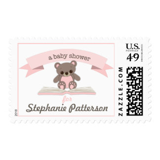 Pink Baby Teddy Bear Baby Shower Postage
