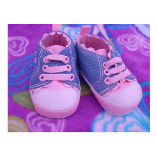 Pink Baby Tennis Shoes postcards Personalize