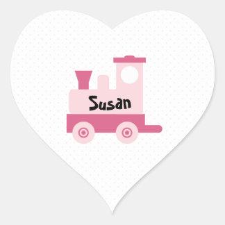 Pink Baby Toy Train Heart Sticker