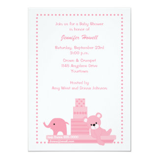 Pink Baby Toys Baby Shower Invitation