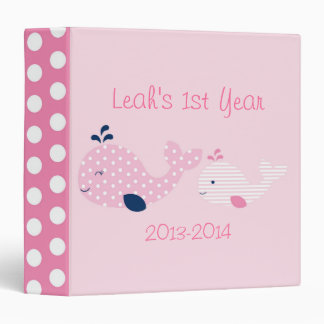 Pink Baby Whale Baby Photo Album 3 Ring Binders