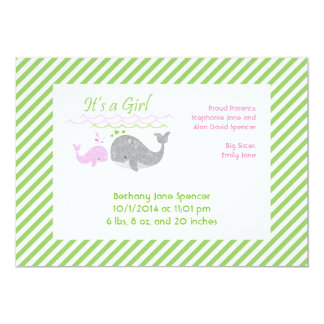 Pink Baby Whale Birth Announcement Cards