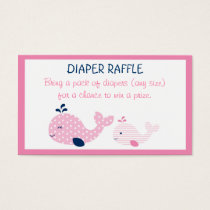 Pink Baby Whale Diaper Raffle Tickets