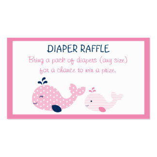 Pink Baby Whale Diaper Raffle Tickets Double-Sided Standard Business Cards (Pack Of 100)
