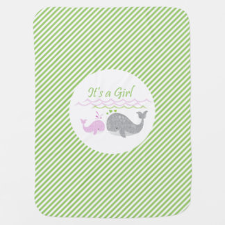 Pink Baby Whale Green Stripe Baby Blanket