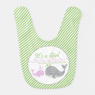 Pink Baby Whale Green Stripe Bib