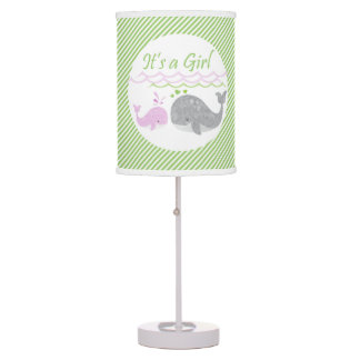 Pink Baby Whale Green Striped Lamp
