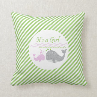Pink Baby Whale Green Striped Pillow