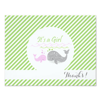 Pink Baby Whale Green Stripes Thank You Cards