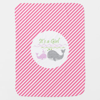 Pink Baby Whale Pink Stripe Baby Blanket