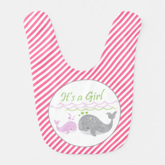 Pink Baby Whale Pink Stripe Bib