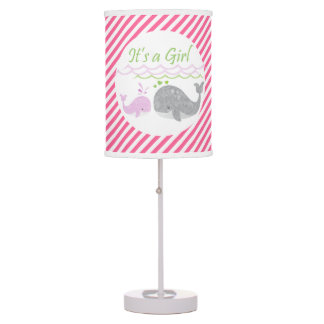 Pink Baby Whale Pink Striped Lamp