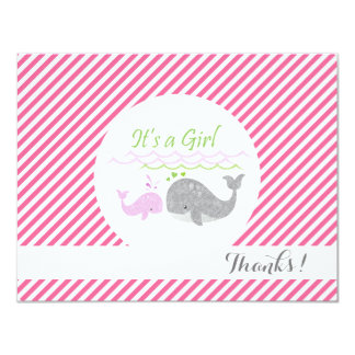 Pink Baby Whale Pink Stripes Thank You Cards