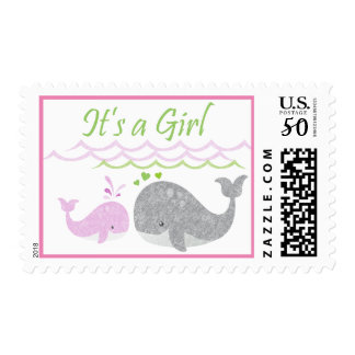 Pink Baby Whale Postage