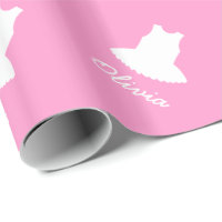Pink baby wrapping paper with cute ballerina tutu