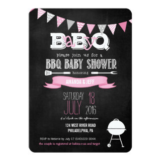 Superb Pink BabyQ BBQ Baby Shower Invitation