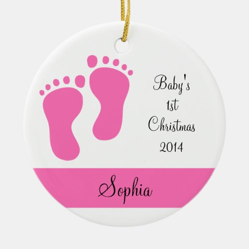 Pink Baby's 1st Christmas Ornaments