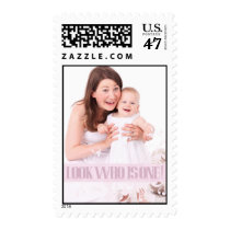 Pink Baby's First Birthday Party Postage Stamp