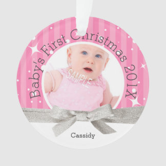 Pink Baby's First Christmas Large Photo Ornament