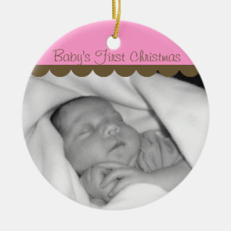 Pink Baby's First Christmas Photo Circle Ornament
