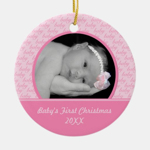 Pink Baby's First Christmas Photo Ornament