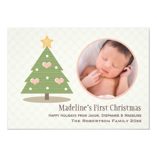 Pink Baby's First Christmas Tree Photo Card Personalized Invitation