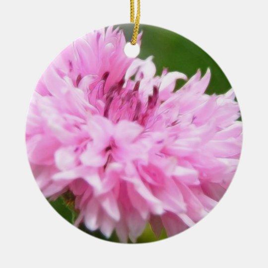 Pink Bachelor Button Ceramic Ornament