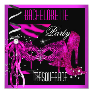 Pink Bachelorette Masquerade black High Heel Shoes Personalized Invite