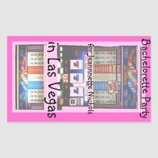 Pink Bachelorette Party Slot Machine Rectangular Sticker
