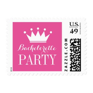 Pink bachelorette party stamps with princess crown