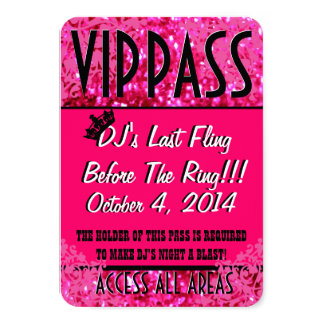 Pink Bachelorette Party VIP PASS 3.5x5 Paper Invitation Card
