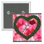 Pink Background Rose Heart Rose Bushes Pinback Button