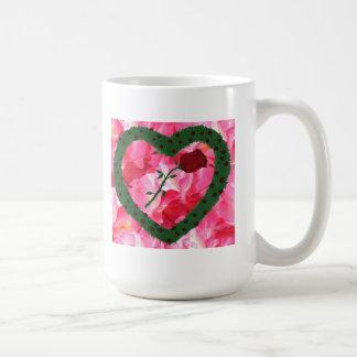 Pink Background Rose Heart Rose Bushes Coffee Mug