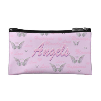 Pink Background with Angel Wings Makeup Bags