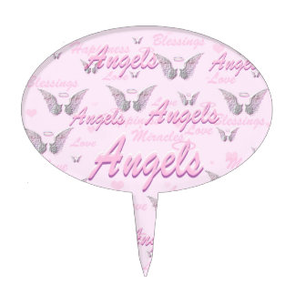 Pink Background with Angel WIngs Cake Topper