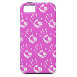 Pink background with handprint iPhone 5 covers